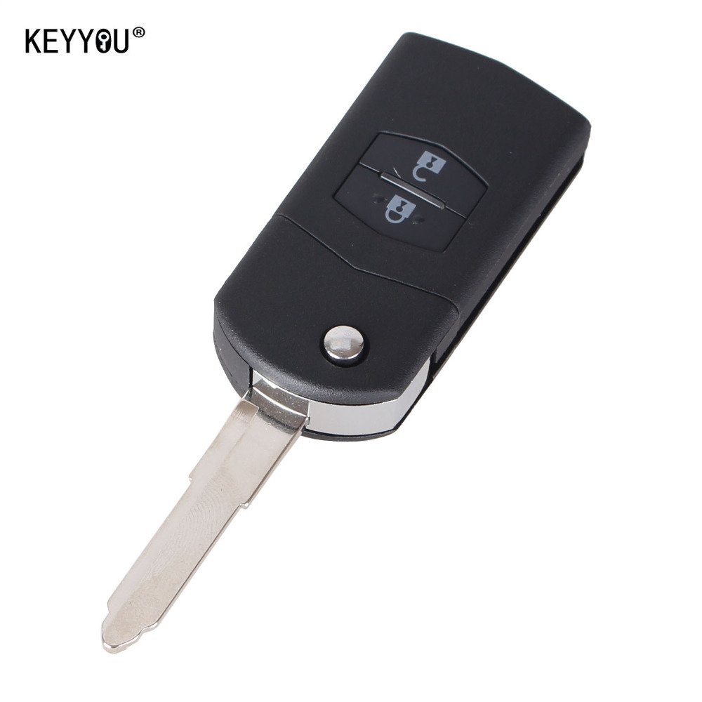 KEYYOU 2 Buttons Remote Folding Flip Key Shell Case Cover Uncut Blank For Mazda 3 5 6 With LOGO  Free Shipping keyyou remote key case shell for peugeot 407 407 307 308 607 key cover 3 buttons flip key case with car symbol with logo