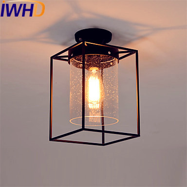 IWHD Glass LED Edison Ceiling Lights Fixtures Hallway Plafonnier Industrial Ceiling Lamps Bedroom Living Room Light Luminaire chandeliers lights led lamps e27 bulbs iron ceiling fixtures glass cover american european style for living room bedroom 1031