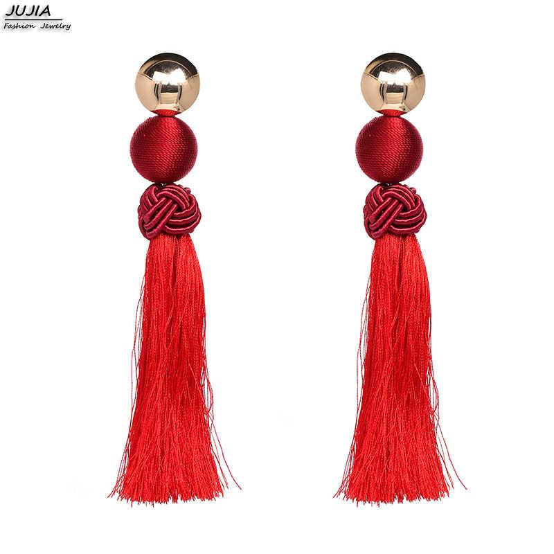 JUJIA 4 Màu Sắc Hiện Đại của Phụ Nữ Bông Tai 2019 cho Giáng Sinh Quà Tặng Phụ Nữ của Knot Trung Quốc Dài Drop Tassel Bông Tai cho đồ Trang Sức quyến rũ