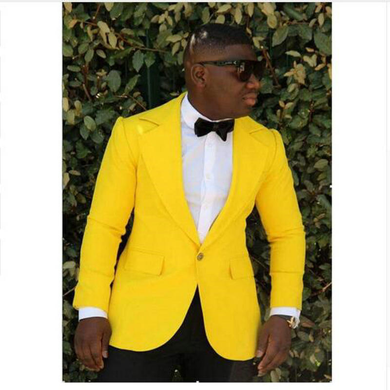 Модный костюм Terno Masculino Homme, большие размеры, мужские костюмы, желтые смокинги на одной пуговице с отворотом, 2 предмета (куртка + штаны)