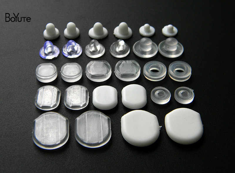 BoYuTe ขายส่งสีขาวโปร่งใสซิลิโคนอ่อน Anti - Pain คลิปหู Pad ต่างหูอุปกรณ์เสริมเครื่องประดับ DIY ผลการค้นหาส่วนประกอบ