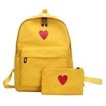 f1cc23c533fd 2pcs Women Canvas School Bag Girls Rucksack Casual Bag Set Heart Printing  Backpack(China)