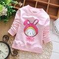 2015 Chica Nueva Otoño Colores Del Caramelo Camisa Pequeño Patrón Lindo del Conejo Niño Hoodies Kid Chicas Sudaderas KT096B