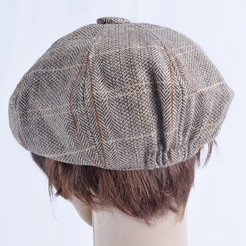 Men Beret Hat Gentleman Octagonal Cap Winter Spring Tweed Wool Newsboy Caps Plaid Man Beret 4