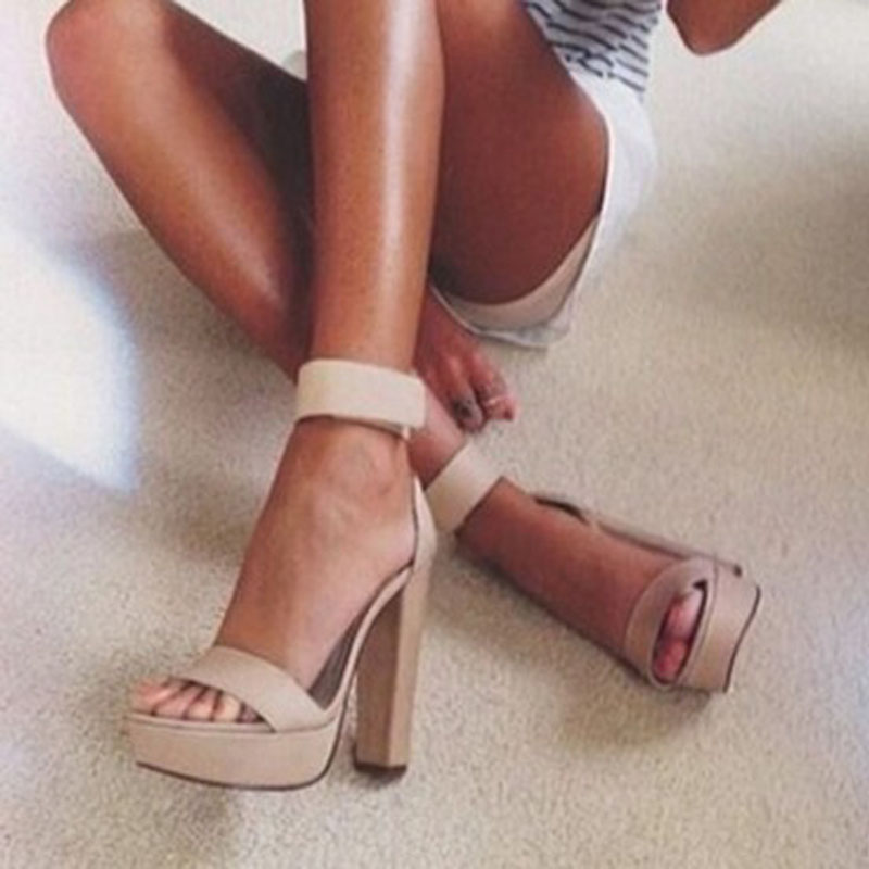 2018 Summer Women Platform Sandals Thick Heels Faux Suede Ankle Strap Sandalias Shoes Peep Toe Nude Cut-out Sandals Dress Shoes hot selling beige black suede fringed platform sandal thick heel summer ankle strap women sandals peep toe cut out dress shoes