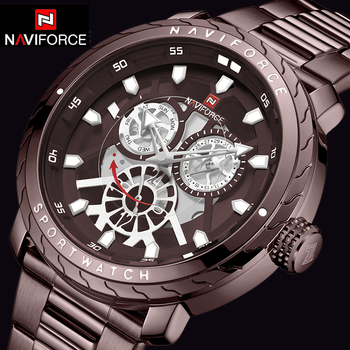 NAVIFORCE 9158 Man Watch New Fashion Quality Stainless Steel Military Sports Watches Waterproof with box