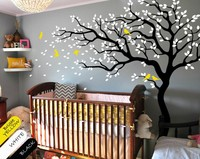 Tattoo Unisex DIY Handmade tree wall decal Black tree mural nursery White tree Removable wallpaper Home Decoration