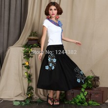 Boshow European Style Cotton High Waist Dress with Printed Pattern Multiple Sizes
