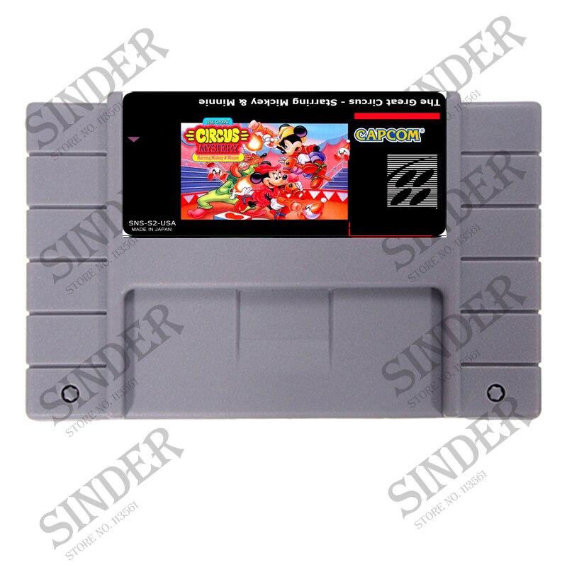 O Grande Circo-Estrelando Mickey & Minnie 16 bit Super Game Card Para NTSC EUA Jogador Do Jogo