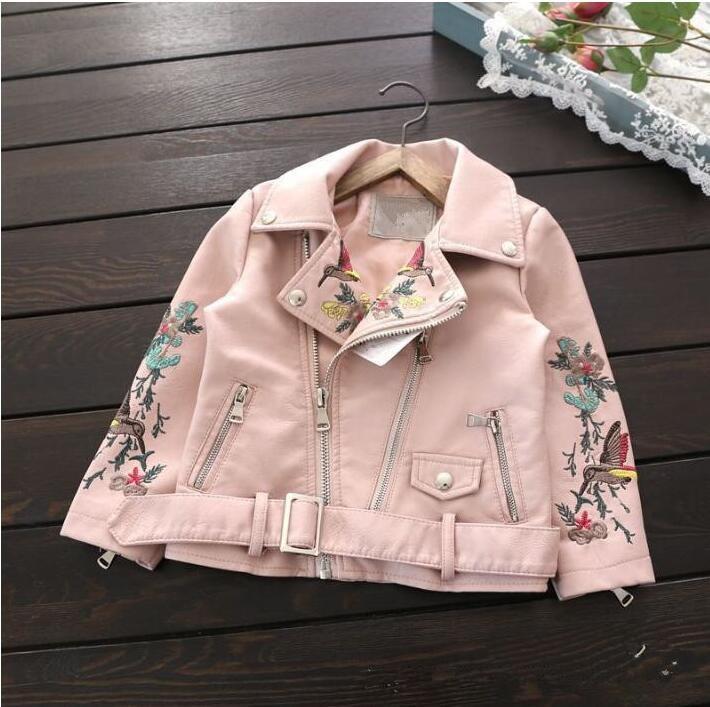 YB905780 2017 Spirng Girls Jacket Embroidery Animal Birds Zipper Girl Outerwear Girl Coat Faux Leather Fashion Baby Jacket Kids аккумулятор yoobao yb 6014 10400mah green