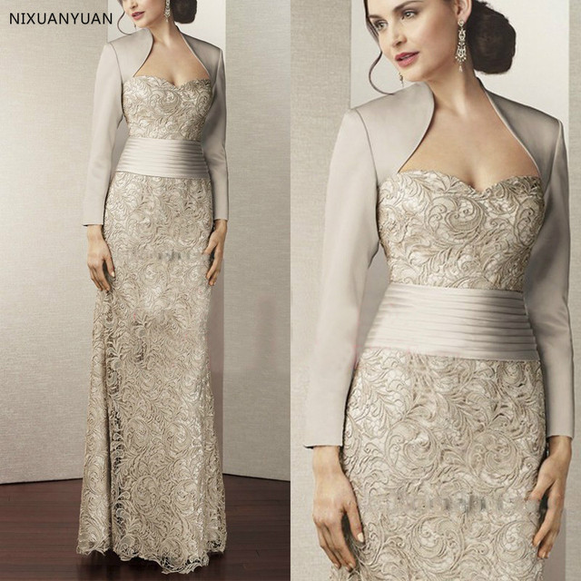 Fashion Lace Mother of The Bridal Dress with Jacket 2020 Long Sleeves Satin Women Formal Evening Gown for Wedding Party