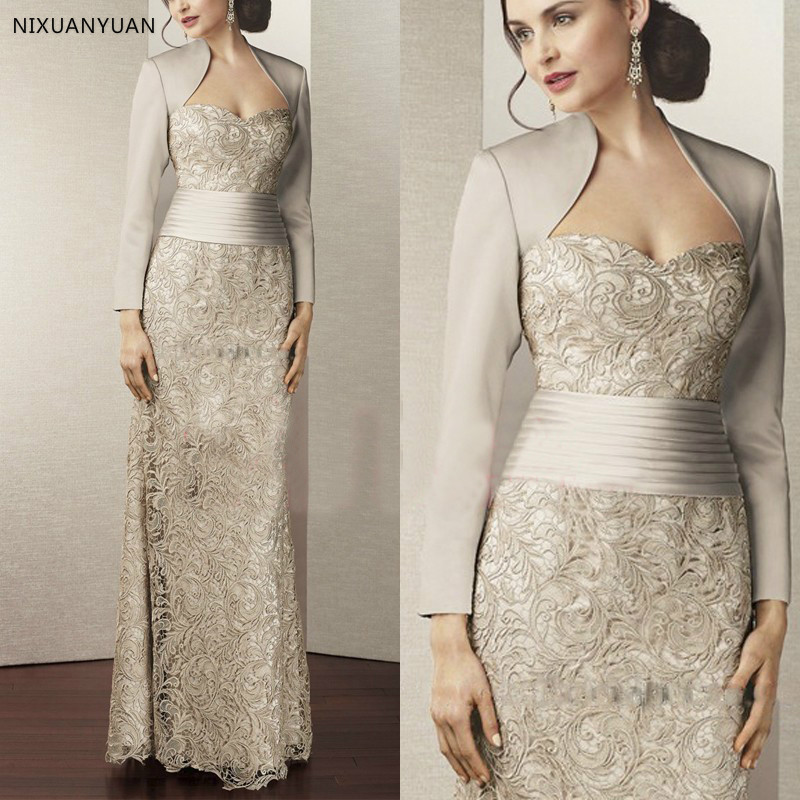 Fashion Lace <font><b>Mother</b></font> of The Bridal Dress with Jacket 2020 Long Sleeves Satin Women Formal Evening Gown for Wedding Party image