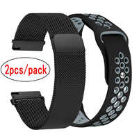 2pcs/pack Milanese Loop Stainless Steel Band + Silicone Replacement Strap + For Amazfit Bip Youth watch 1 2 2s Metal watch band