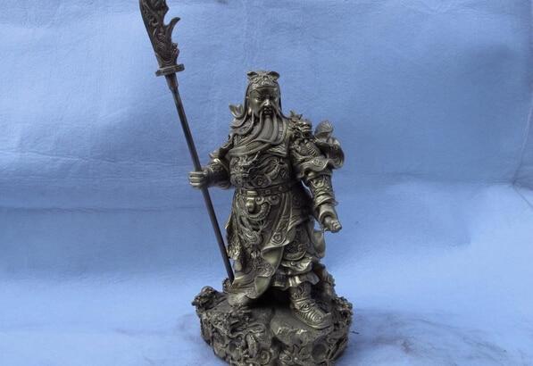 150401 S0929 12 Chinese Folk Brass Copper Nine Dragon Guan gong Guan Yu Warrior Buddha Statue