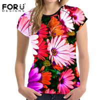 FORUDESIGNS Colorful 3D Flower Women Casual T Shirt Summer Breath Slim Woman Tops Crop Ladies Bodybuilding