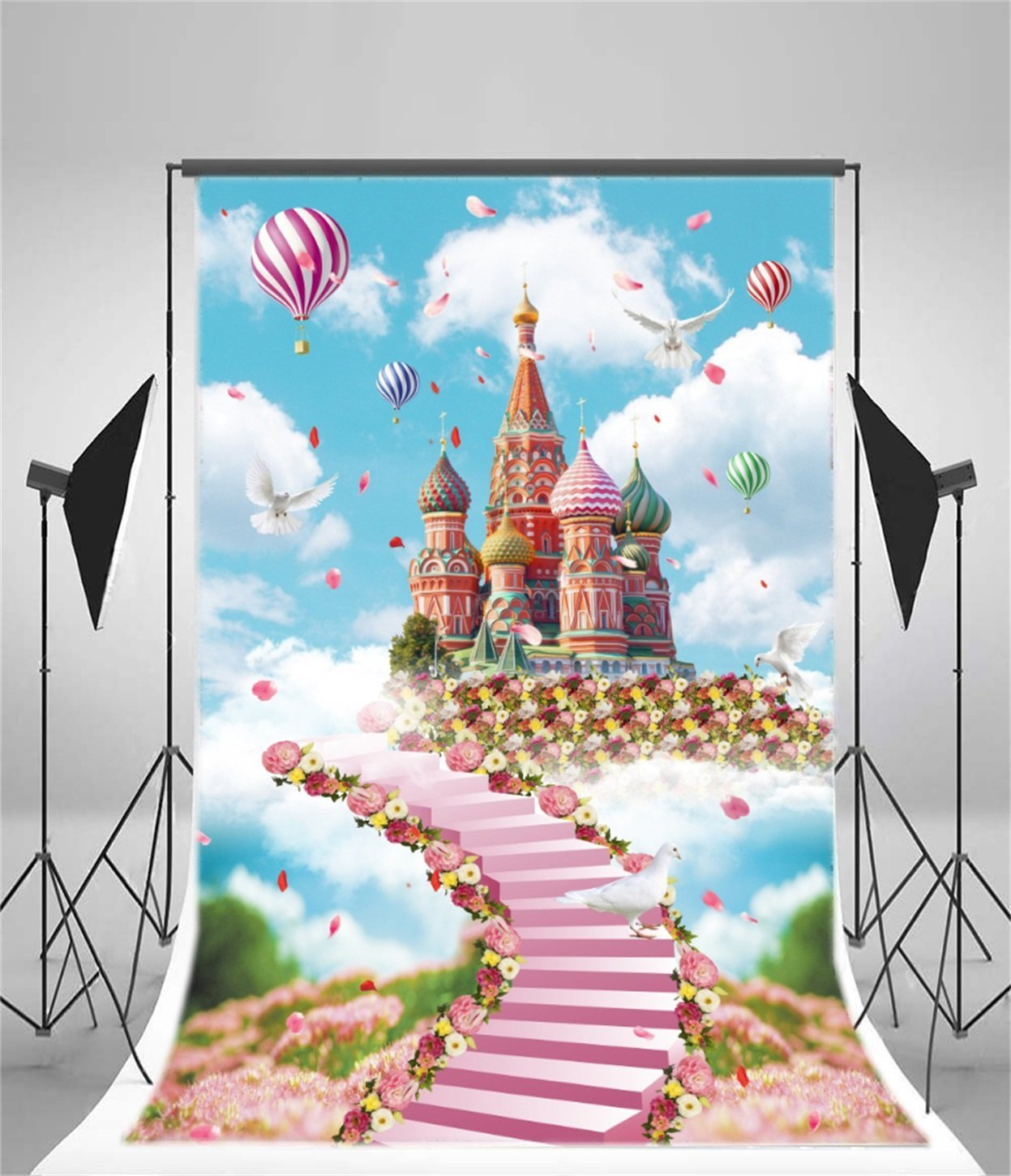 princess fairy tale castle flowers staircase sky clouds hot air balloon backdrops Vinyl cloth Computer print wall Background цена и фото