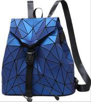 New Fashion Large capacity Female Luminous splice Geometry lattice luggage backpack leather Women Student Bag Soft Shoulder bag