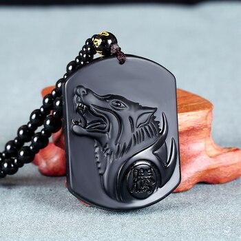 1 шт. натуральный Обсидиан Резной Тотем Волчья Голова Форма Подвески из бисера Веревка ожерелье для мужчин и женщин ювелирные изделия