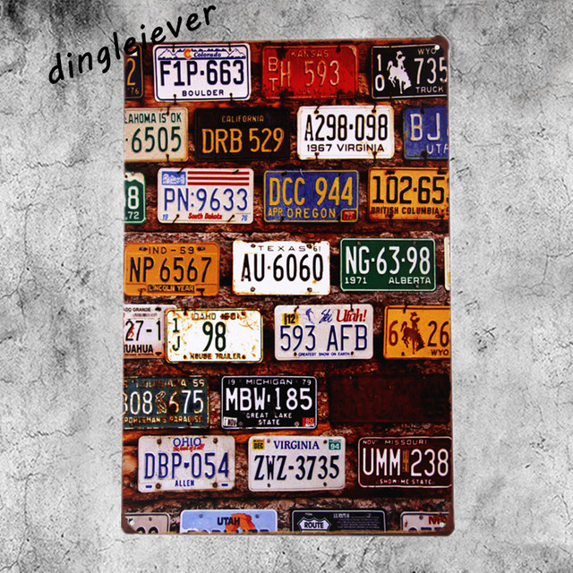 USA License Plate Vintage Metal Sign Plates Route 66 Bar Tin Signs Home  Decoration Accessories Bar