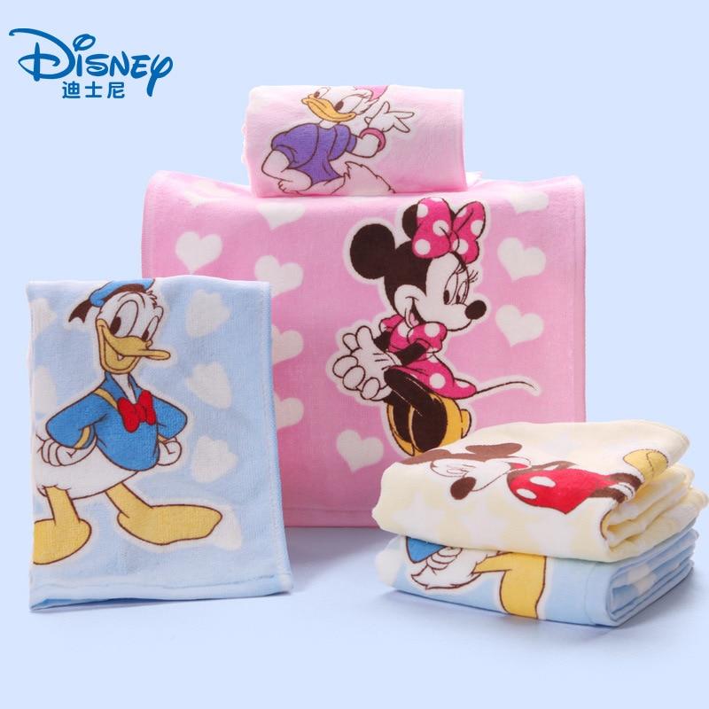 Полотенце Disney из 100% чистого хлопка для мытья лица, впитывание воды, детское полотенце для взрослых, детское полотенце для мальчиков и девочек, Минни, Микки