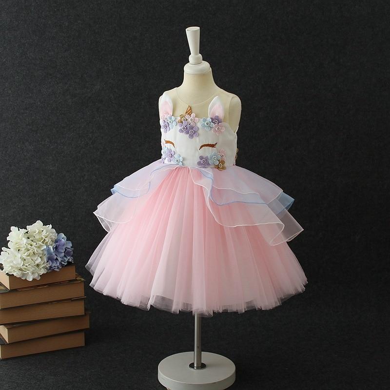 Lovely Kids Dress Unicorn dla dziewczynek Haft Flower Ball suknia - Ubrania dziecięce - Zdjęcie 5