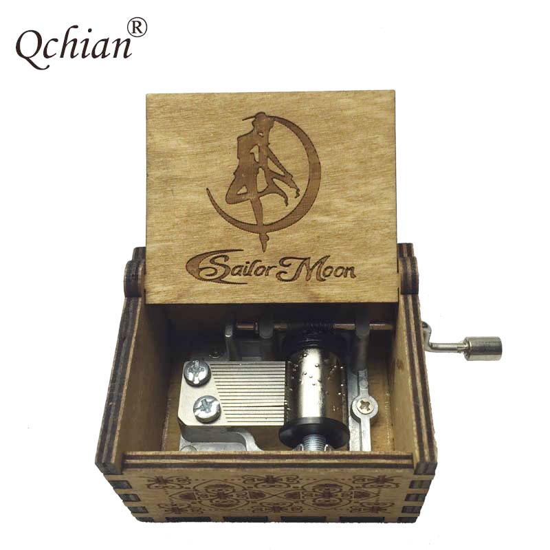 2018 Sailor Moon DIY Music Box Keychain Hand Crank Movement Beauty and the Beast ZELDA Pirates of the Caribbean