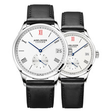 Agelocer Fashion Style Couple Watches Genuine Leather Band Automatic Watches for Men and Womens Waterproof Watches 1101A1-1202A1