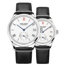 Agelocer модные Стиль пара Часы Пояса из натуральной кожи ремешок автоматические Часы для Для мужчин и горе Для мужчин S Водонепроницаемый Часы 1101a1-1202a1