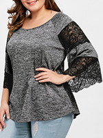 LANGSTAR Plus Size Flare Sleeve Lace Panel T Shirt Women New Lace Scoop Neck Three Quarter