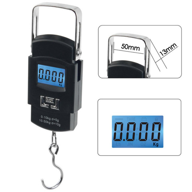 19ecaa757db0 US $5.7 20% OFF|Portable Digital Electronic weighing scales Balance  Weighing Pocket Hand Hanging LCD Scale 50kg 10g Hook Luggage baggage  Machine-in ...