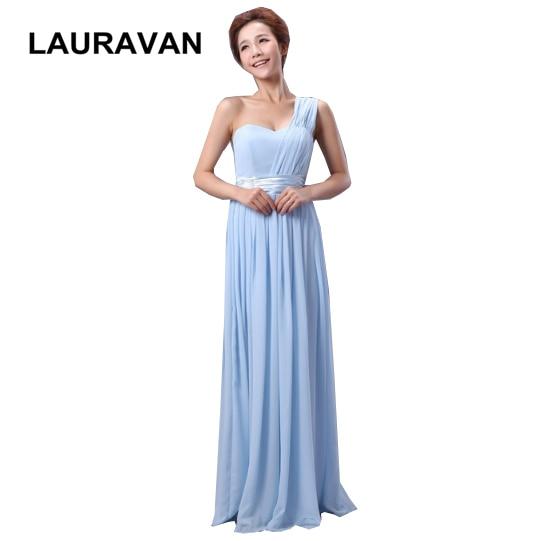 Women Ladies Light Blue Red Royal Blue Chiffon Elegant Long One Shoulder Bridesmaid Party Dress Simple Dresses Elegant Gown