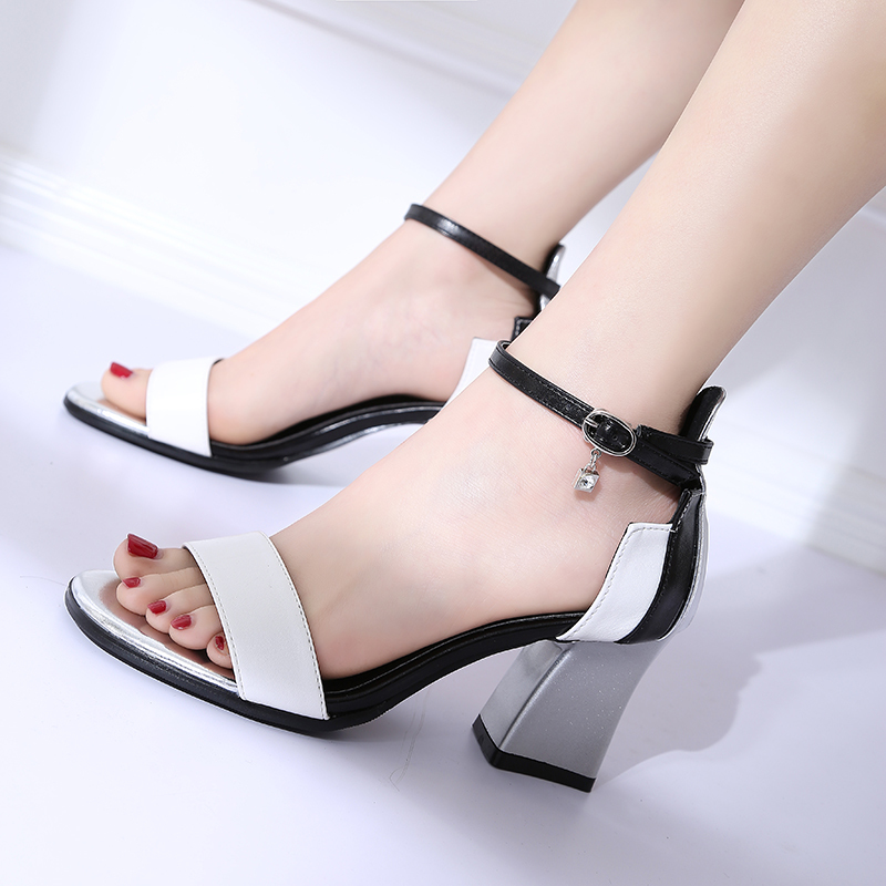 HKCP Korean version 2019 high heel sandal female student bare toe thick with matching color one word buckle belt C142 in Middle Heels from Shoes