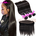 Mink Brazilian Virgin Hair With Closure Lace Frontal Closure With Bundles 7A Ear To Ear 13x4 Lace Frontal With Bundles