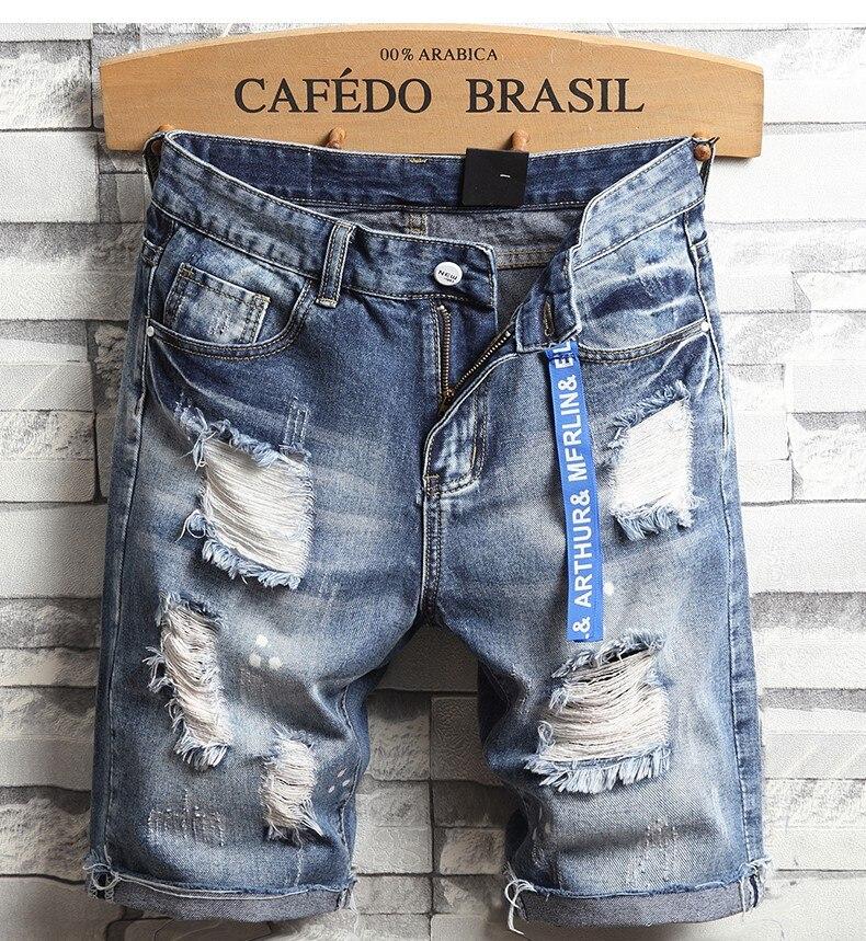 Men Holes Denim Shorts Summer Light Blue Short Jeans Good Quality Men Cotton Straight Jeans Shorts Streetwear Solid Jeans Size36