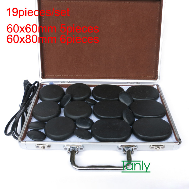 19pcs /set Hot stones massage lava Natural massage stone set hot spa rock basalt stone with heater box for salon SPA CE and ROHS