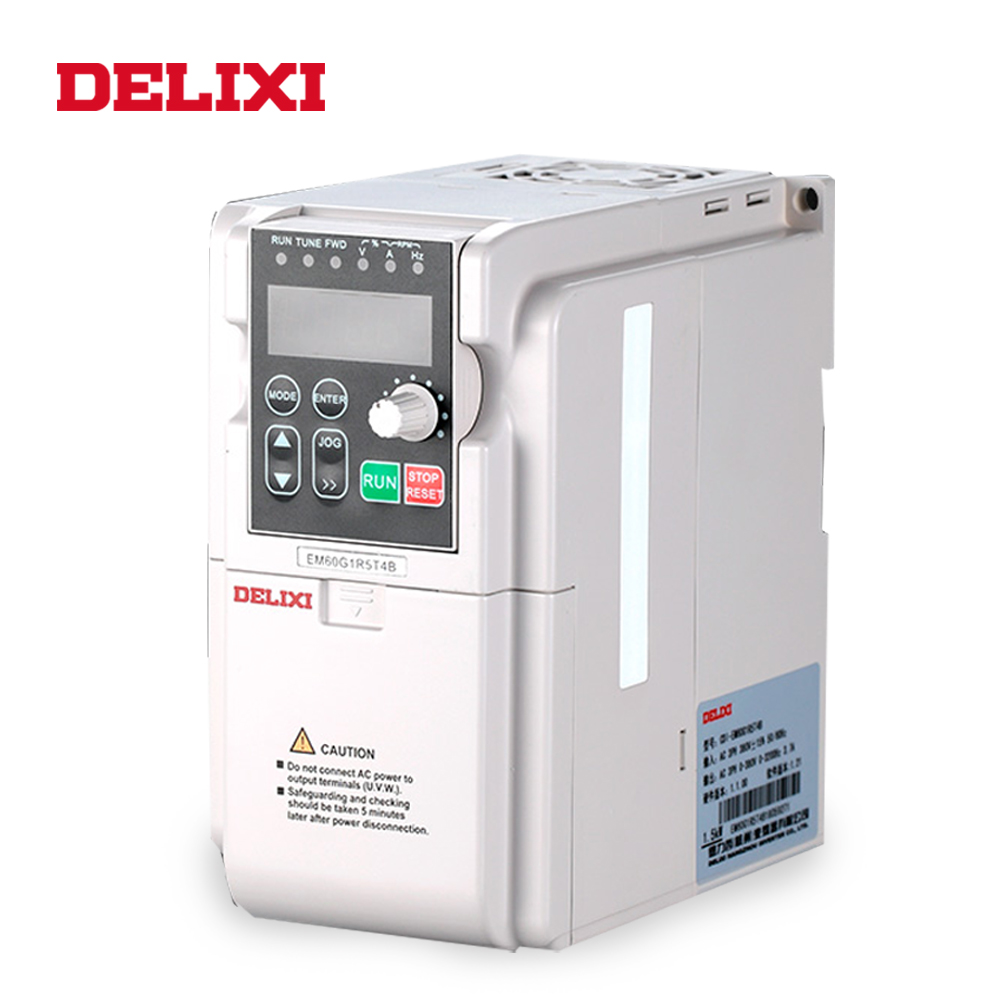 DELIXI AC 380V 2.2KW 3 phase input frequency inverter drives VFD for motor Speed Control 50HZ 60HZ DC frequency converterDELIXI AC 380V 2.2KW 3 phase input frequency inverter drives VFD for motor Speed Control 50HZ 60HZ DC frequency converter