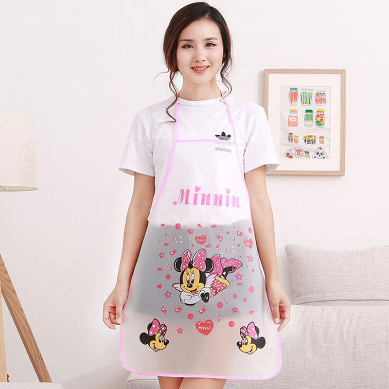 1pc Cute Cartoon Princess Apron Jingle Cat Mickey Half Transparent Waterproof Apron Kitchen Anti-Oil Sleeveless Apron
