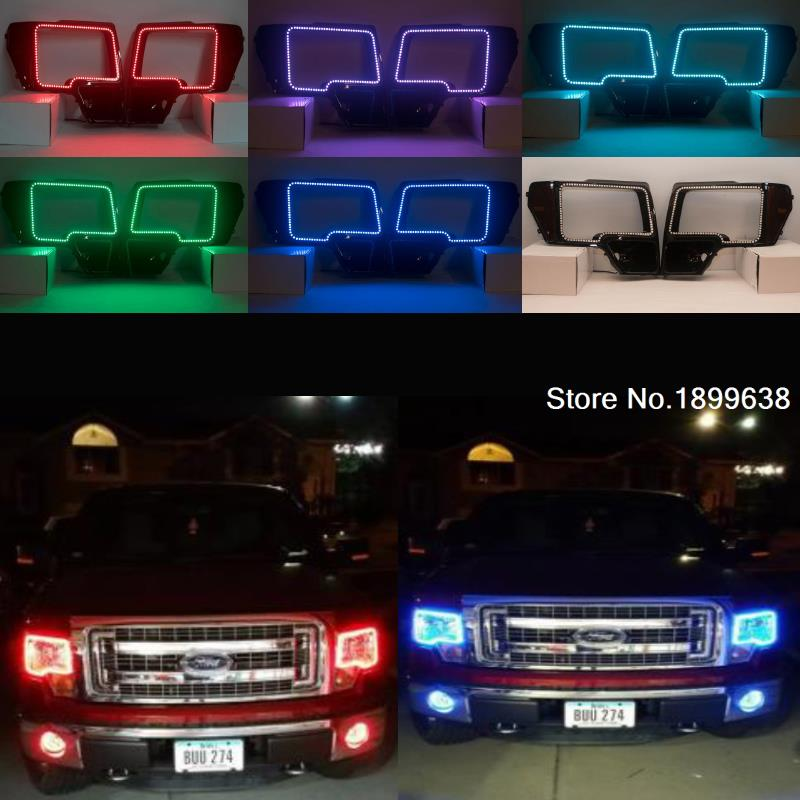 7-Color RGB Multi-Color LED Angel Eyes Kit with a remote control for 2009 - 2014 Ford F-150 (non-projector) 4x xenon rgb remote multi color led angel eyes kit for bmw e90 2006 2008 e60