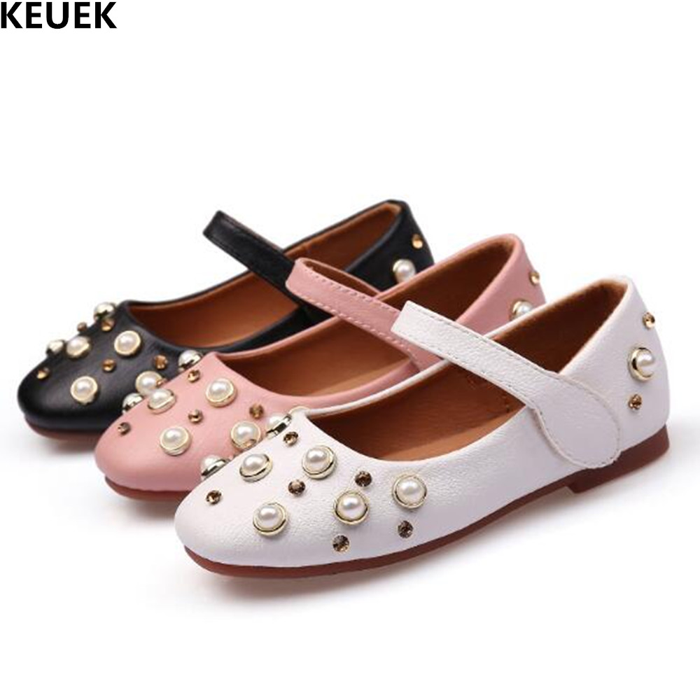 New Girls Shoes For Party And Wedding Princess Dance Shoes Children Fashion Rhinestone Leather Shoes Kids Baby Toddler Flats 019