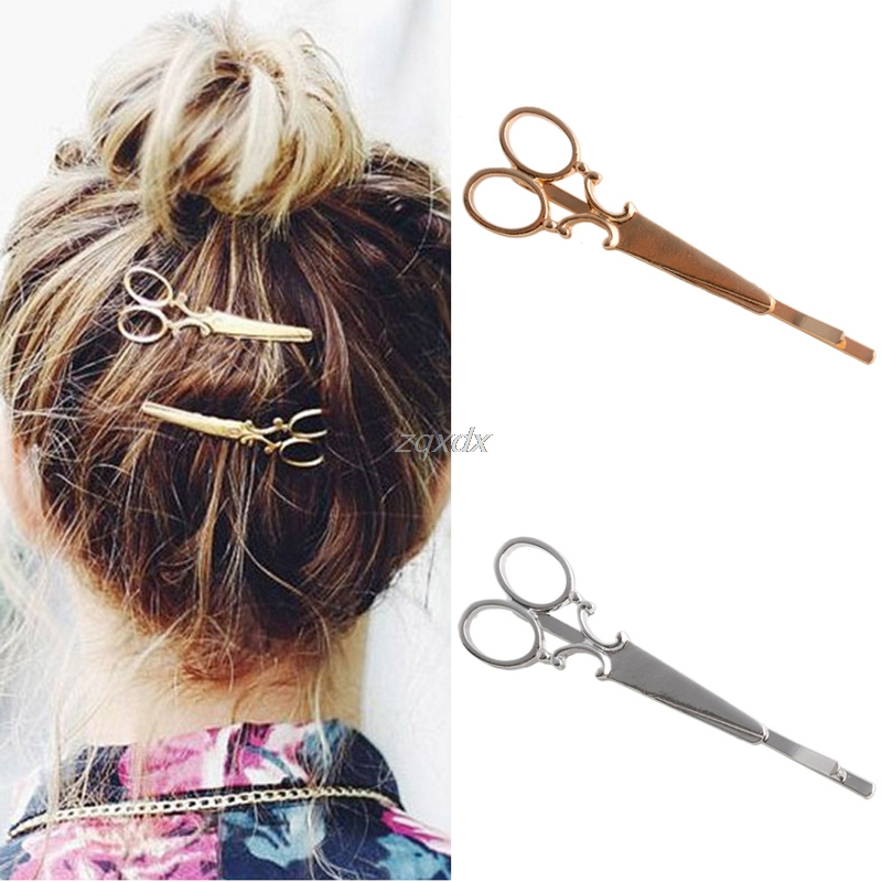Fashion Women Chic Scissors Shape HairClip Gold/Silver Hair Pin Accessory Drop Ship