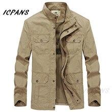 ICPANS Хлопок Джинсовые Куртки Мужчины Длинный Стенд Воротник Армия Случайные Военные мужские