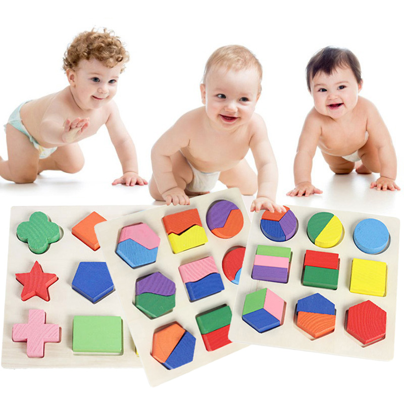 Baby Puzzle Toys Wooden Colorful 3D Geometry Board Kids Early Learning Educational Toy FJ88