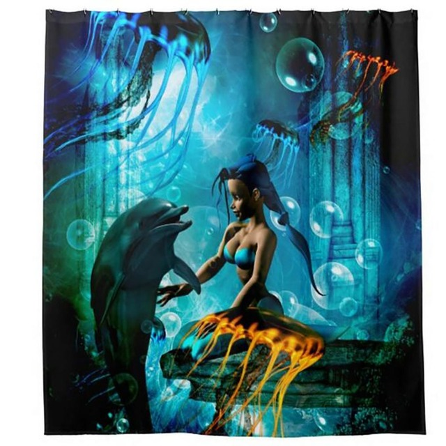 Dolphin Little Mermaid Ariel Shower Curtains Hooks Bathroom Curtain Waterproof Fabric Polyester Bathing Home Decal Bath Decor