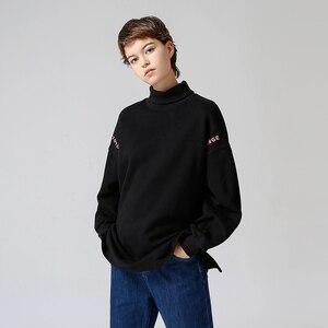 Image 4 - Toyouth Sudadera larga con capucha para mujer, suéter informal con letra de Color sólido bordado, suéter de cuello alto, sudaderas holgadas para mujer 2019