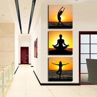 Hand Painted Modern Pictures on the Wall Art oil canvas painting Set Beauty Girl Dancing on Ocean Sunset 3 Panel Entrance Decor