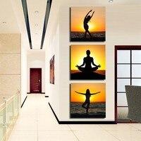 Pintados À mão Modern Pictures on the Wall Art canvas pintura a óleo conjunto de Beleza Garota Dançando no Pôr Do Sol Do Oceano 3 Painel Decoração Entrada