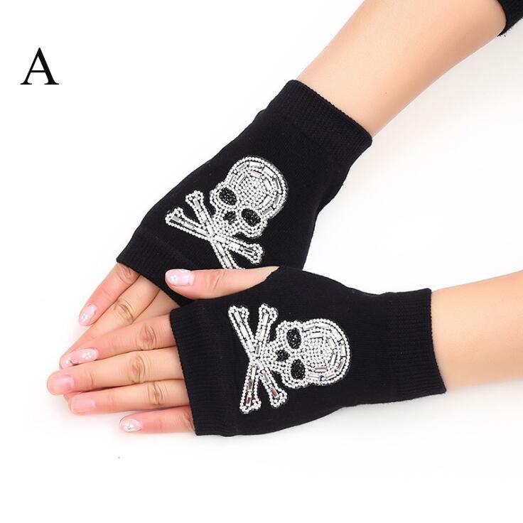 Fast Deliver New Lady Rhinestone Fingerless Gloves Women Men Sparkling Knitted Girl Boy Black Wool Half Finger Computer Mitts Warm 7c2202 Women's Gloves