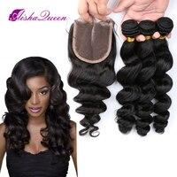 Aisha queen свободная волна бразильский человеческих волос 4 Связки с 1 кружева закрытия 4x4 натуральный черный Волосы remy