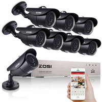 ZOSI 8CH 1080P HDMI DVR 8PCS 720P HD Outdoor Security Camera System 8 Channel CCTV DVR
