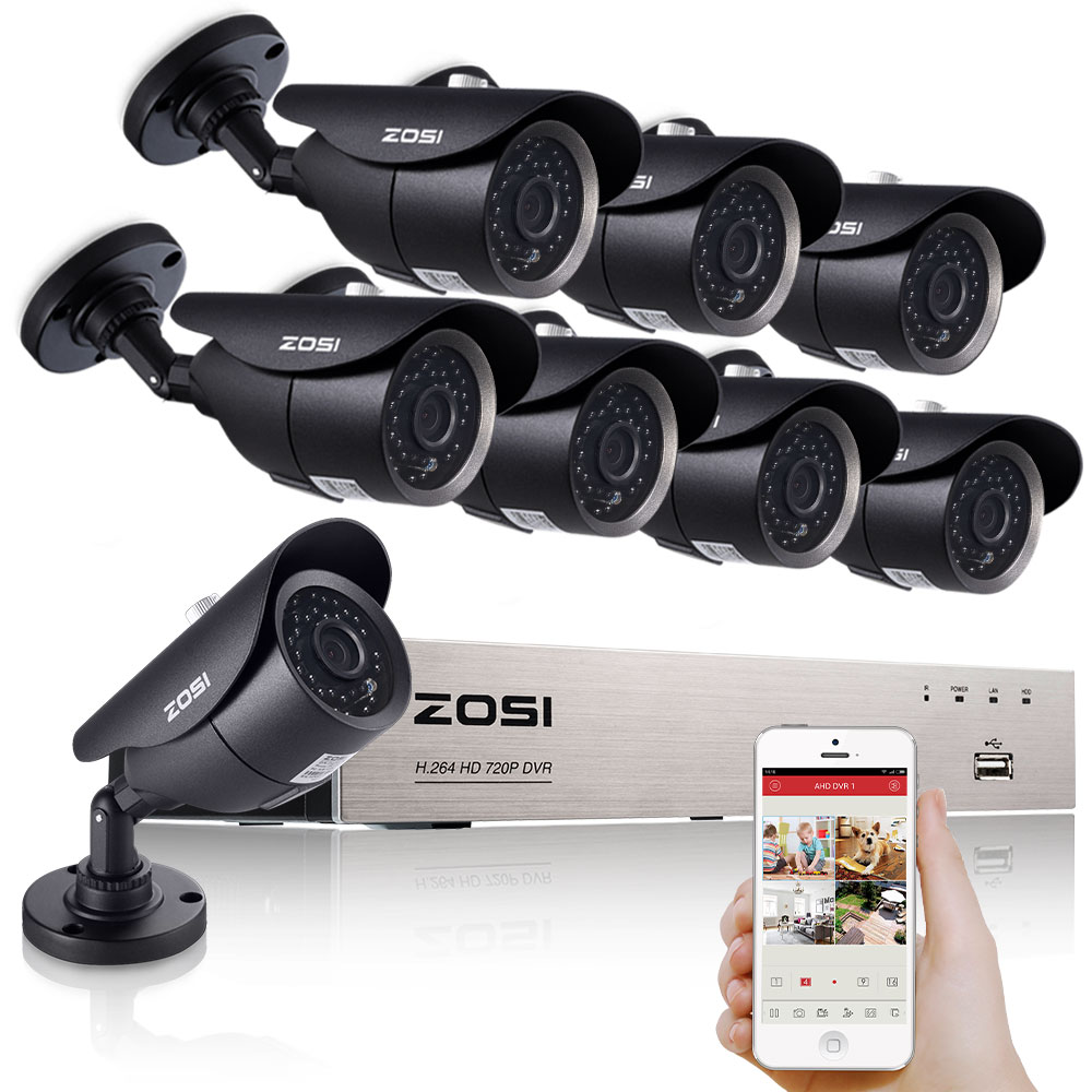 ZOSI 8CH 1080P HDMI DVR 8PCS 720P HD Outdoor Security Camera System 8 Channel CCTV DVR Kit AHD Camera Set